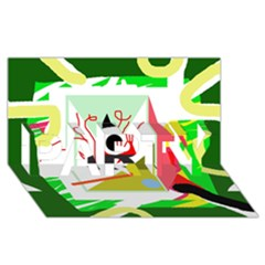 Green Abstract Artwork Party 3d Greeting Card (8x4)