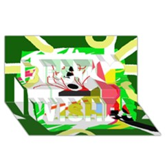 Green abstract artwork Best Wish 3D Greeting Card (8x4)
