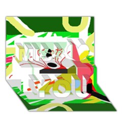 Green Abstract Artwork Miss You 3d Greeting Card (7x5)