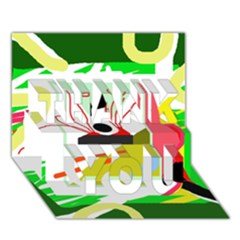 Green abstract artwork THANK YOU 3D Greeting Card (7x5)