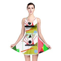 Green abstract artwork Reversible Skater Dress