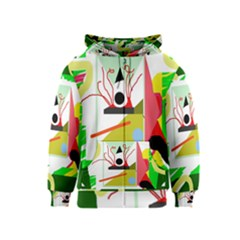 Green abstract artwork Kids  Zipper Hoodie