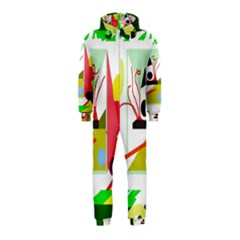 Green abstract artwork Hooded Jumpsuit (Kids)