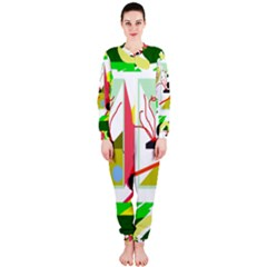 Green abstract artwork OnePiece Jumpsuit (Ladies)