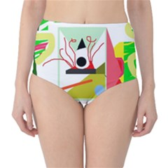 Green abstract artwork High-Waist Bikini Bottoms