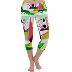 Green abstract artwork Capri Yoga Leggings