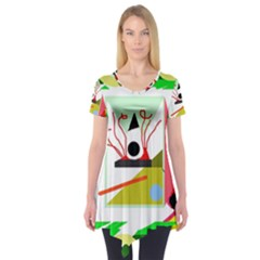 Green abstract artwork Short Sleeve Tunic