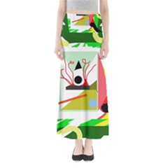 Green abstract artwork Maxi Skirts
