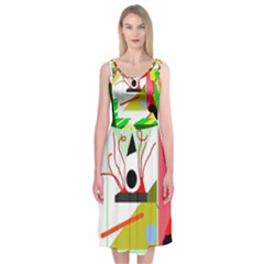 Green Abstract Artwork Midi Sleeveless Dress