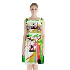 Green Abstract Artwork Sleeveless Chiffon Waist Tie Dress