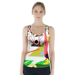 Green abstract artwork Racer Back Sports Top