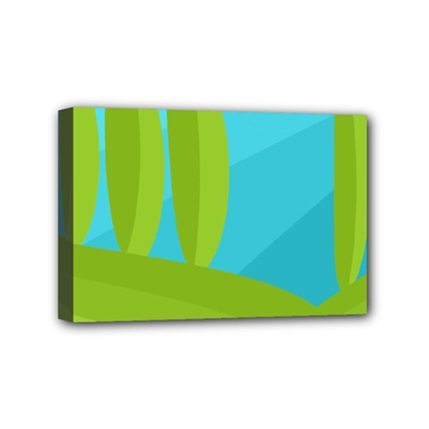 Green and blue landscape Mini Canvas 6  x 4