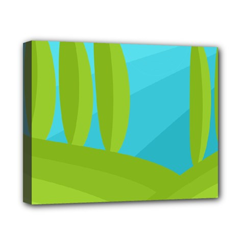 Green and blue landscape Canvas 10  x 8