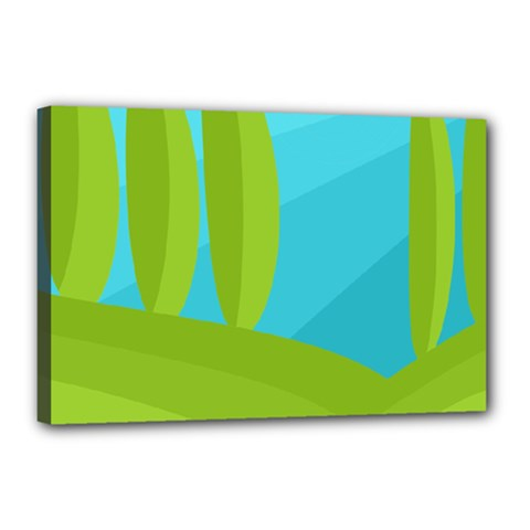 Green and blue landscape Canvas 18  x 12