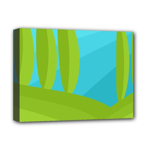 Green and blue landscape Deluxe Canvas 16  x 12