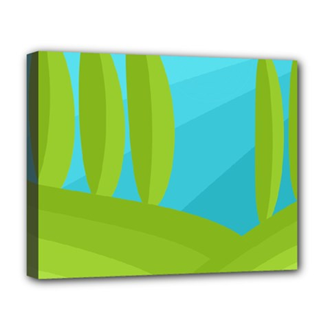 Green and blue landscape Deluxe Canvas 20  x 16