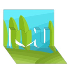 Green and blue landscape I Love You 3D Greeting Card (7x5)