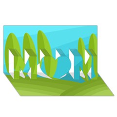 Green and blue landscape MOM 3D Greeting Card (8x4)