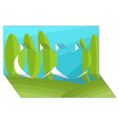 Green and blue landscape Twin Hearts 3D Greeting Card (8x4)