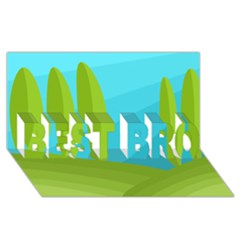 Green and blue landscape BEST BRO 3D Greeting Card (8x4)