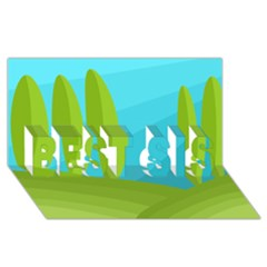 Green and blue landscape BEST SIS 3D Greeting Card (8x4)