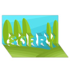 Green and blue landscape SORRY 3D Greeting Card (8x4)
