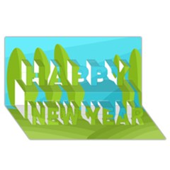 Green and blue landscape Happy New Year 3D Greeting Card (8x4)