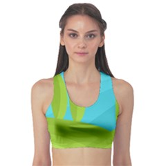 Green and blue landscape Sports Bra
