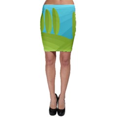 Green and blue landscape Bodycon Skirt