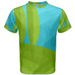 Green and blue landscape Men s Cotton Tee