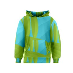 Green and blue landscape Kids  Pullover Hoodie