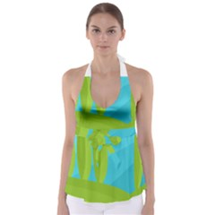Green And Blue Landscape Babydoll Tankini Top