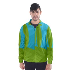 Green and blue landscape Wind Breaker (Men)