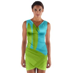 Green and blue landscape Wrap Front Bodycon Dress