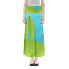 Green And Blue Landscape Maxi Skirts