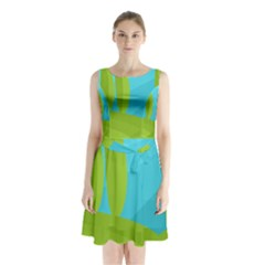 Green and blue landscape Sleeveless Chiffon Waist Tie Dress