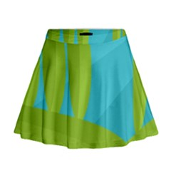 Green and blue landscape Mini Flare Skirt
