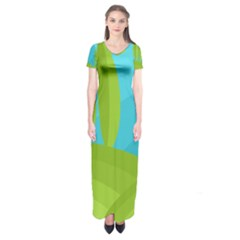 Green and blue landscape Short Sleeve Maxi Dress