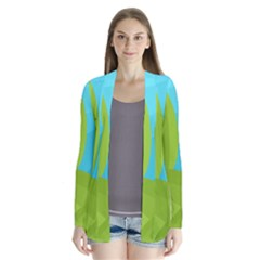 Green and blue landscape Drape Collar Cardigan
