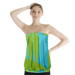 Green and blue landscape Strapless Top