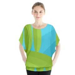 Green and blue landscape Blouse