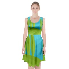 Green And Blue Landscape Racerback Midi Dress