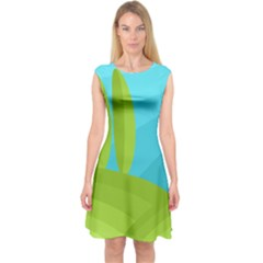Green and blue landscape Capsleeve Midi Dress