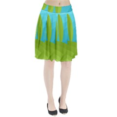 Green And Blue Landscape Pleated Skirt