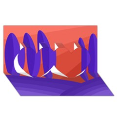 Purple and orange landscape Twin Hearts 3D Greeting Card (8x4)