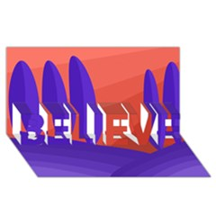 Purple and orange landscape BELIEVE 3D Greeting Card (8x4)