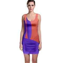 Purple and orange landscape Sleeveless Bodycon Dress