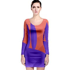 Purple and orange landscape Long Sleeve Bodycon Dress