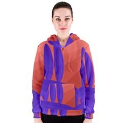 Purple and orange landscape Women s Zipper Hoodie