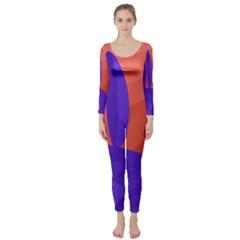Purple and orange landscape Long Sleeve Catsuit